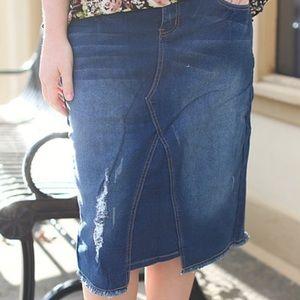 Dresses & Skirts - Washed n' Distressed Denim Asymmetric Skirt